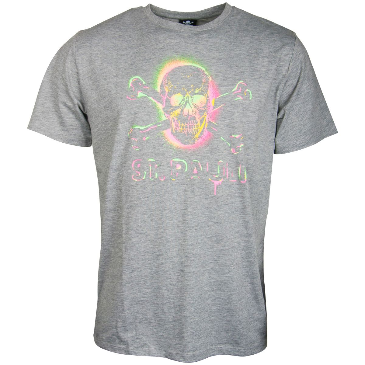 FC St. Pauli - T-Shirt Graffiti Neon Totenkopf - grau