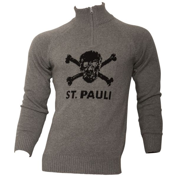 FC St. Pauli - Strickpullover Totenkopf - grau