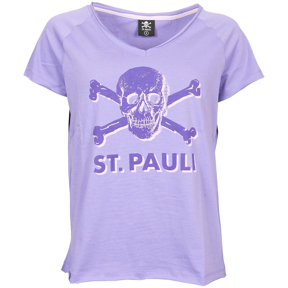 FC St. Pauli - Damen T-Shirt Leila mit Totenkopf - lila