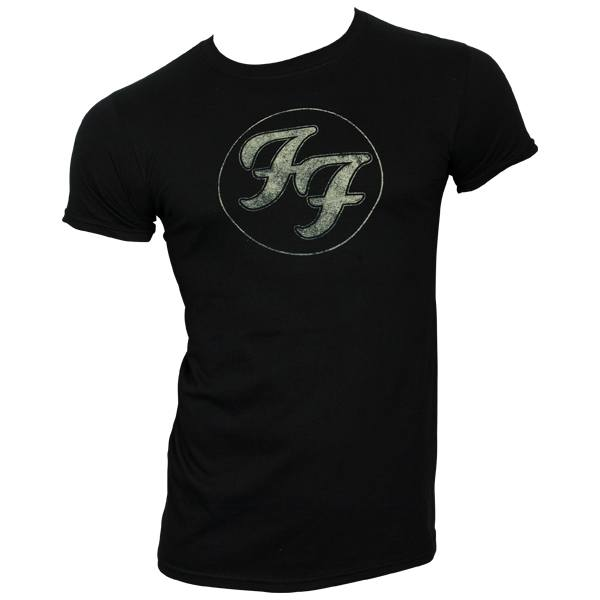 Foo Fighters - T-Shirt Logo In Gold Circle - schwarz