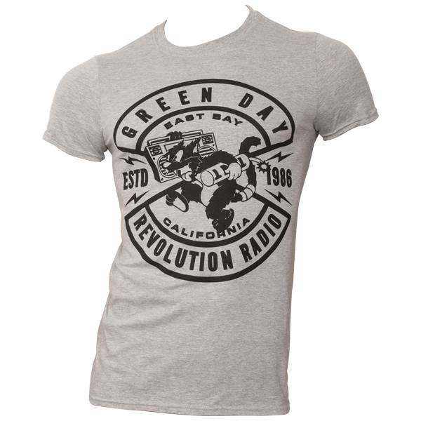 Green Day - T-Shirt Cat Crest - grau