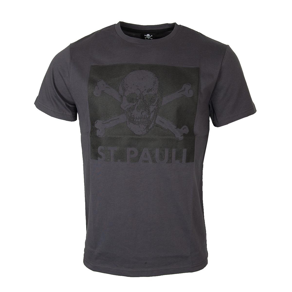 FC St. Pauli - T-Shirt Black Box Totenkopf - grau