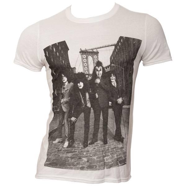 Kiss - T-Shirt B&W City - weiß