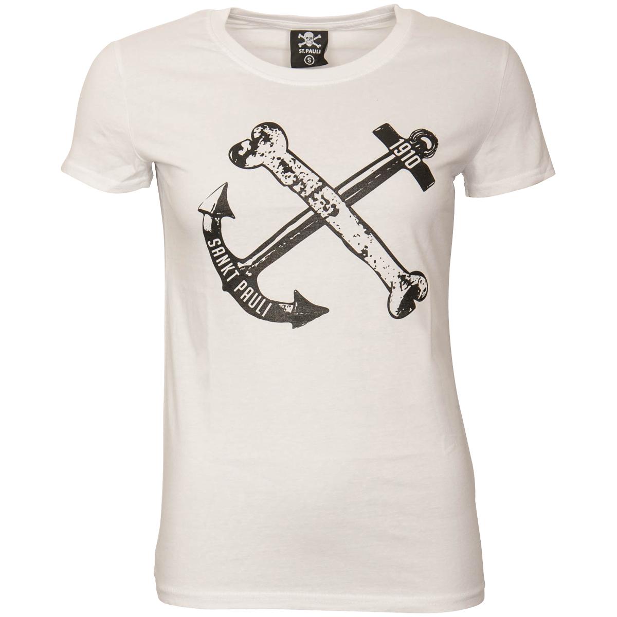 FC St. Pauli - Damen T-Shirt Anker - weiß