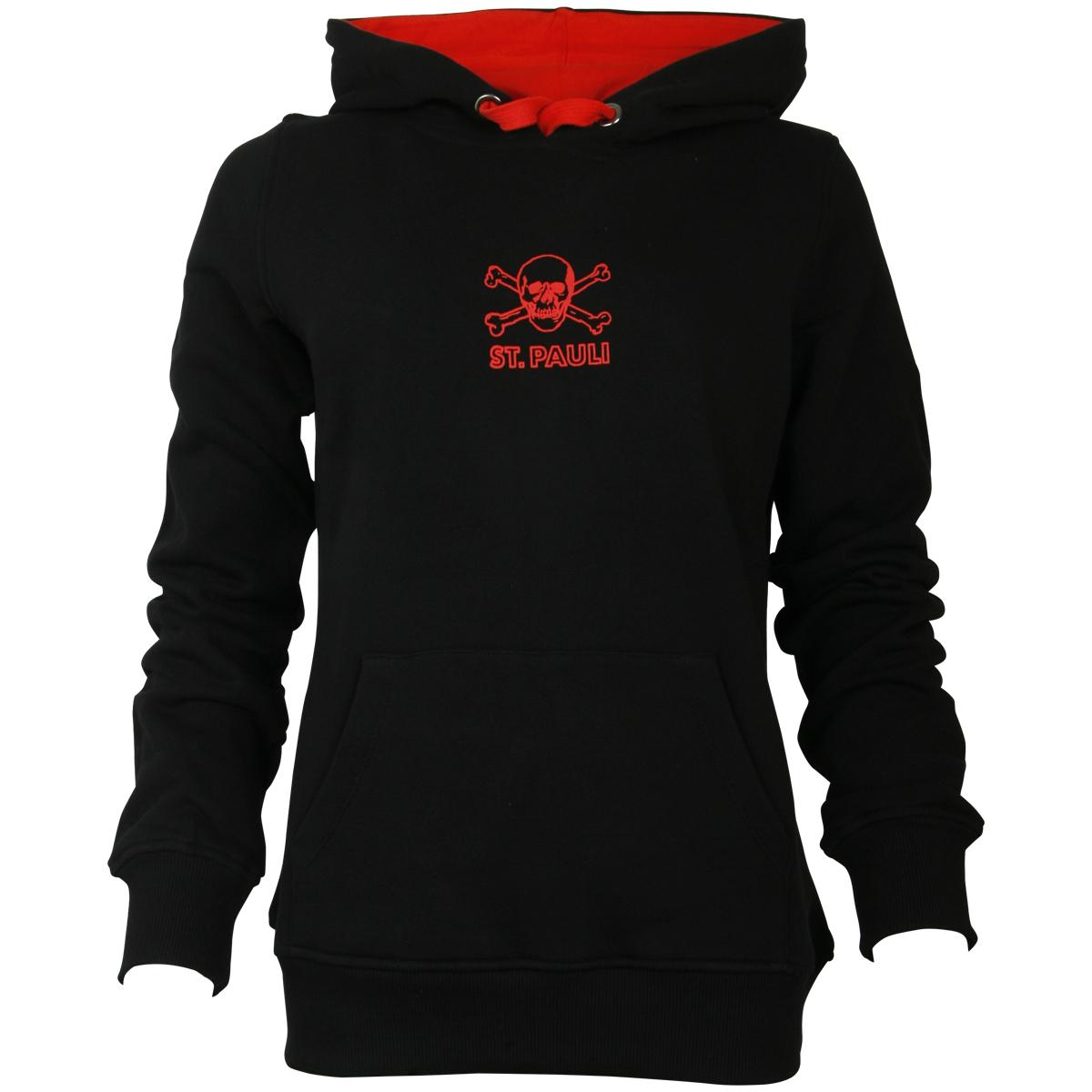 FC St. Pauli - Damen Kapuzenpullover Black Red - schwarz