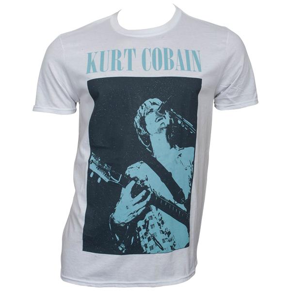 Kurt Cobain - T-Shirt Standing Blue Photo - weiß