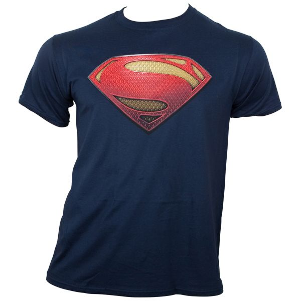 Superman - T-Shirt Man Of Steel Textured Logo - blau