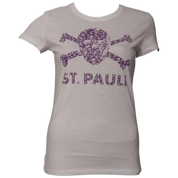 FC St. Pauli - Frauen T-Shirt Totenkopf Schädel - Weiß-Lila - weiß