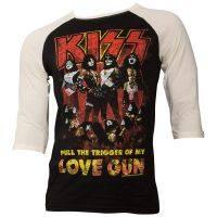 Kiss - Baseball-Shirt Love Gun - schwarz/weiß