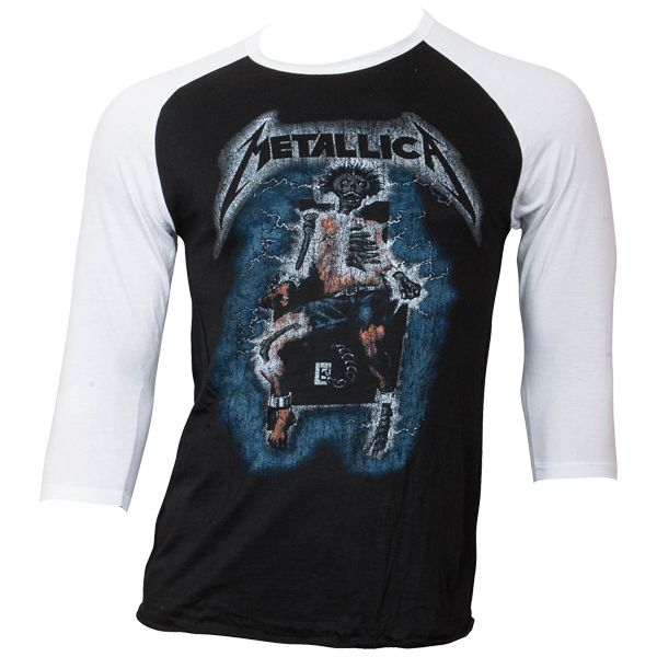Metallica - Baseball Shirt Electric Chair - schwarz
