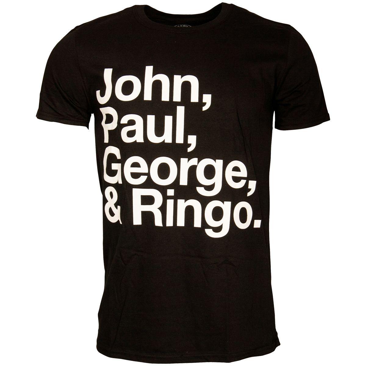 The Beatles - Black T-Shirt John Paul George   Ringo  9407369ba