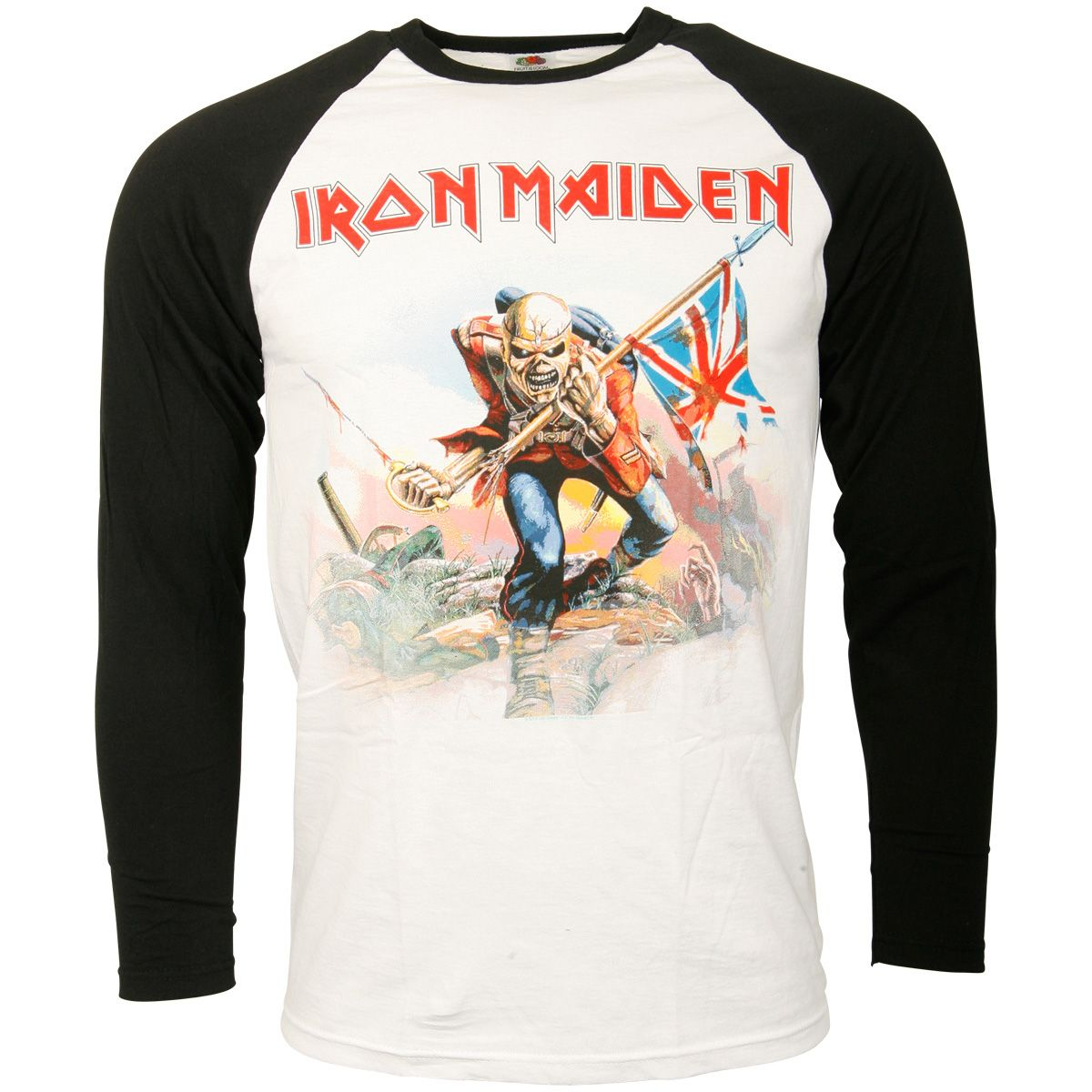 Iron Maiden - Baseball Shirt Trooper - schwarz/weiß