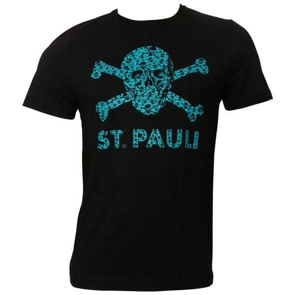 FC St. Pauli - T-Shirt Totenkopf Schädel - Schwarz-Türkis - schwarz