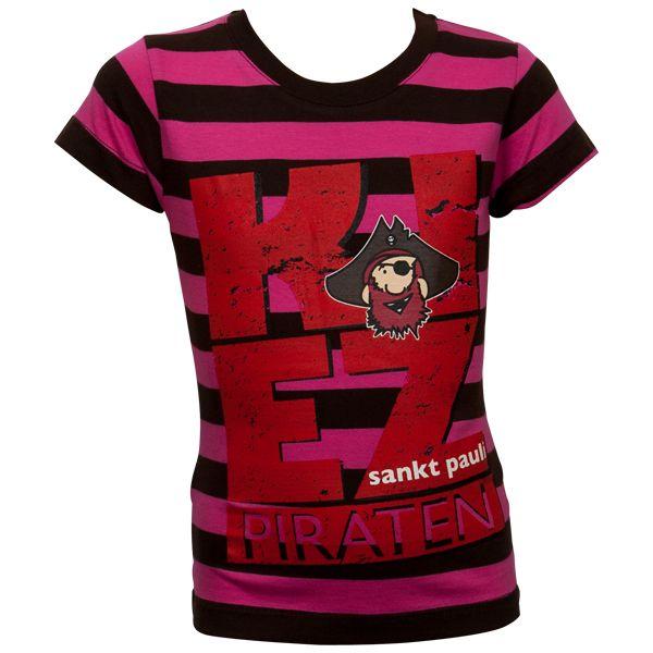 FC St. Pauli - Mädchen T-Shirt Kiez - braun/pink