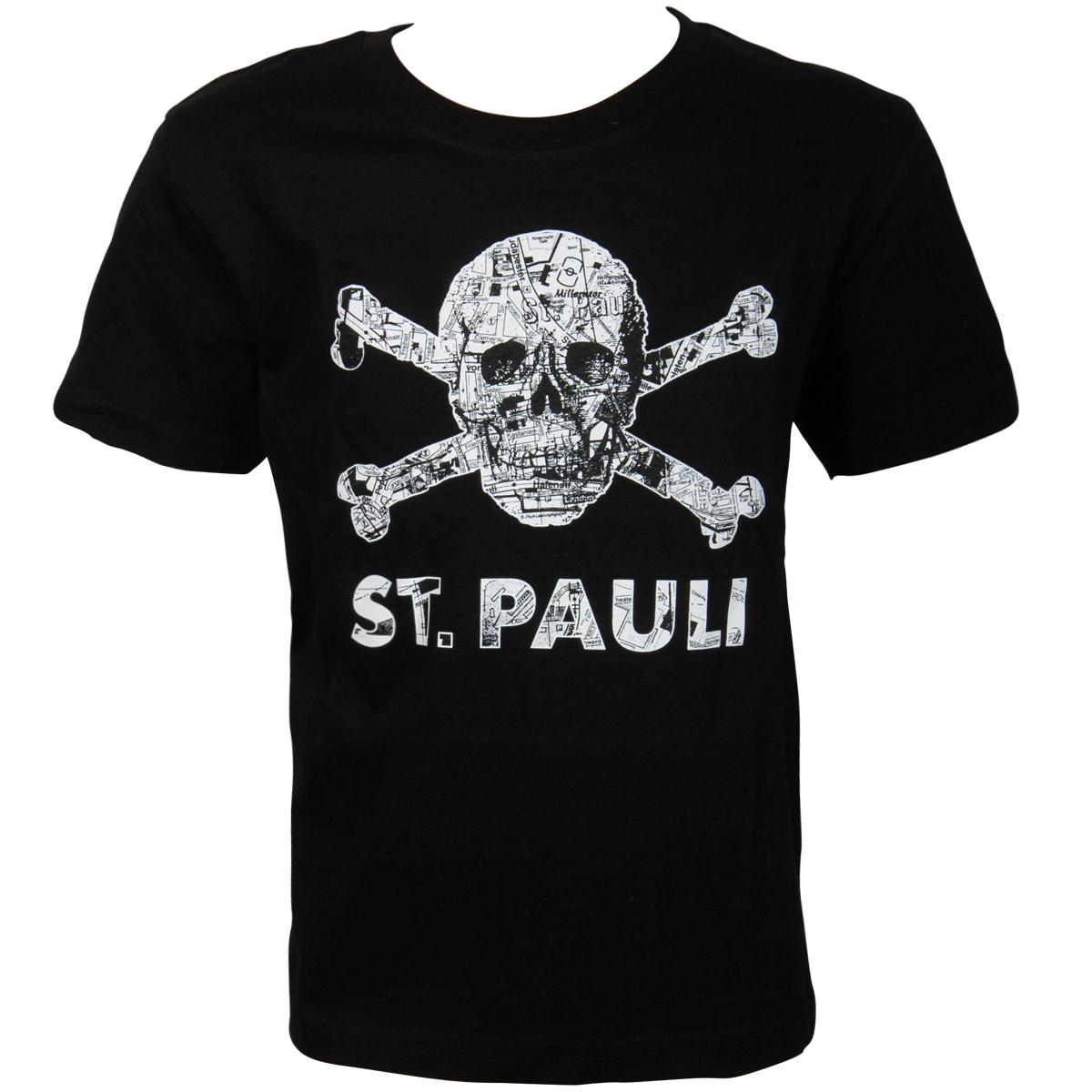 FC St. Pauli - Kinder T-Shirt Totenkopf Stadtplan Schwarz-Weiss - schwarz
