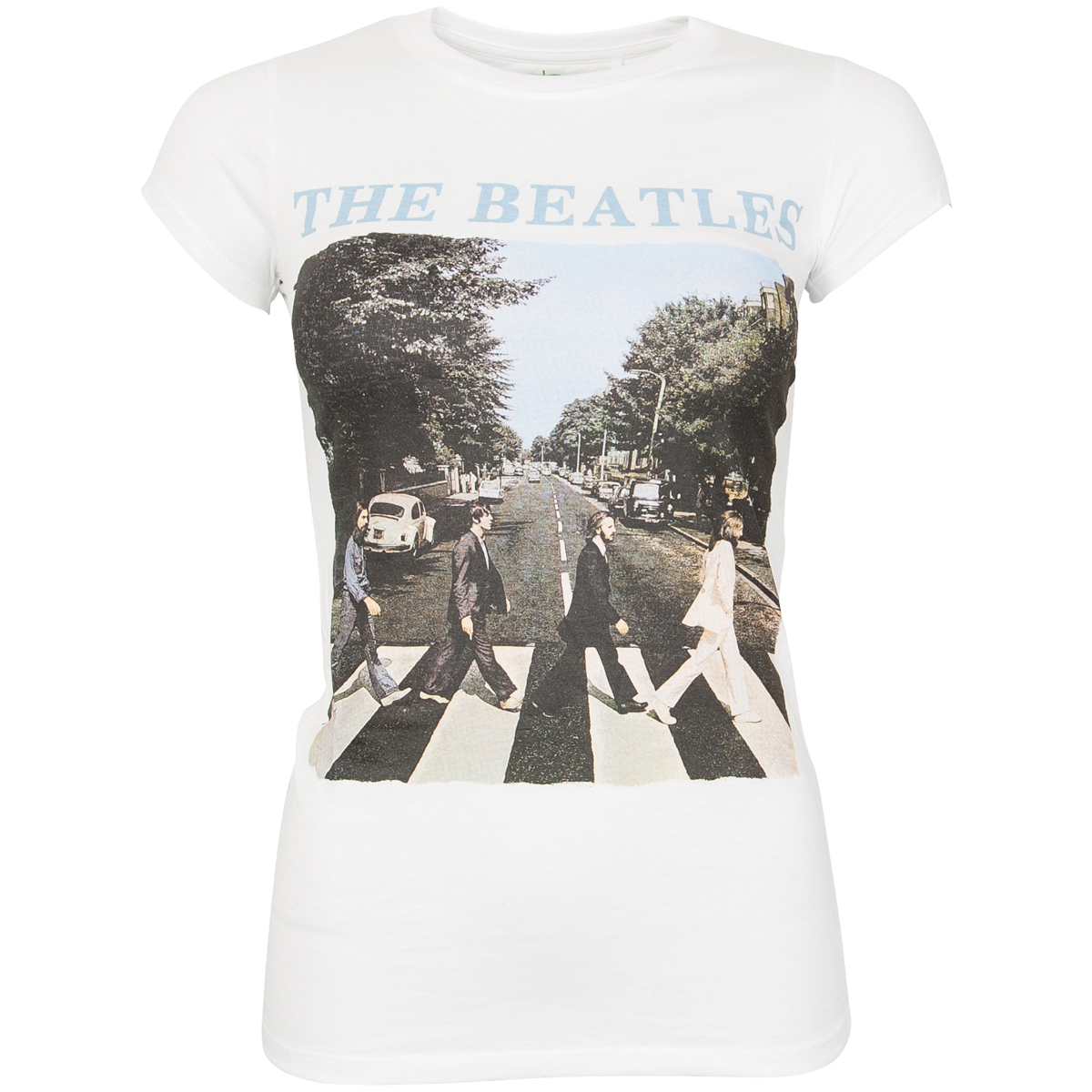 The Beatles - Damen T-Shirt Abbey Road & Logo - weiß
