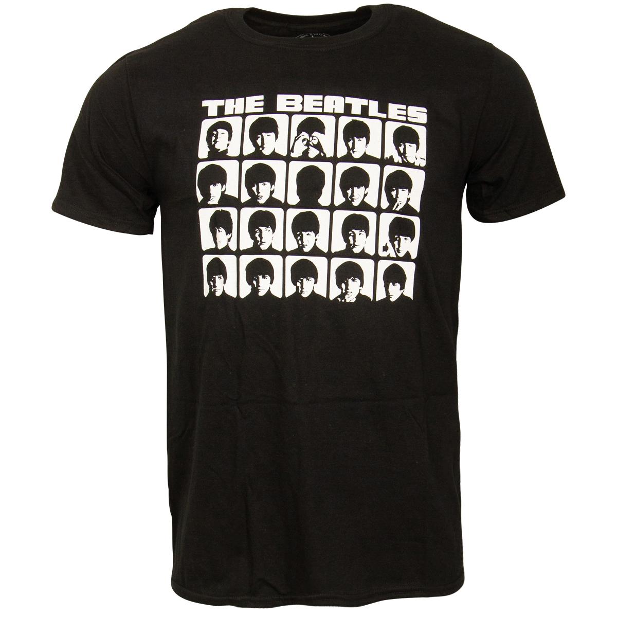 The Beatles - T-Shirt Hard Days Night Faces Mono - schwarz