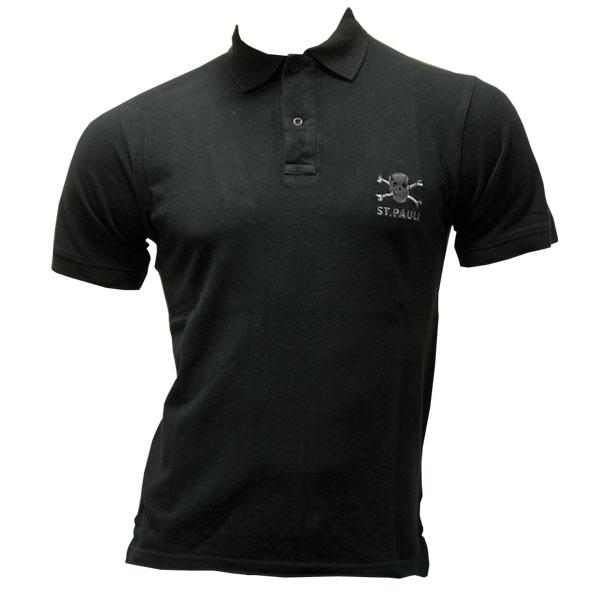 FC St. Pauli - Polo Shirt Totenkopf - schwarz