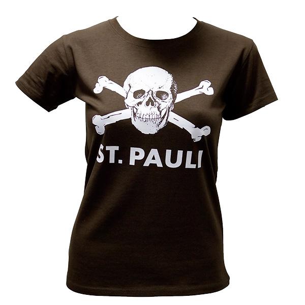 FC St. Pauli - Girly T-Shirt Totenkopf groß - braun
