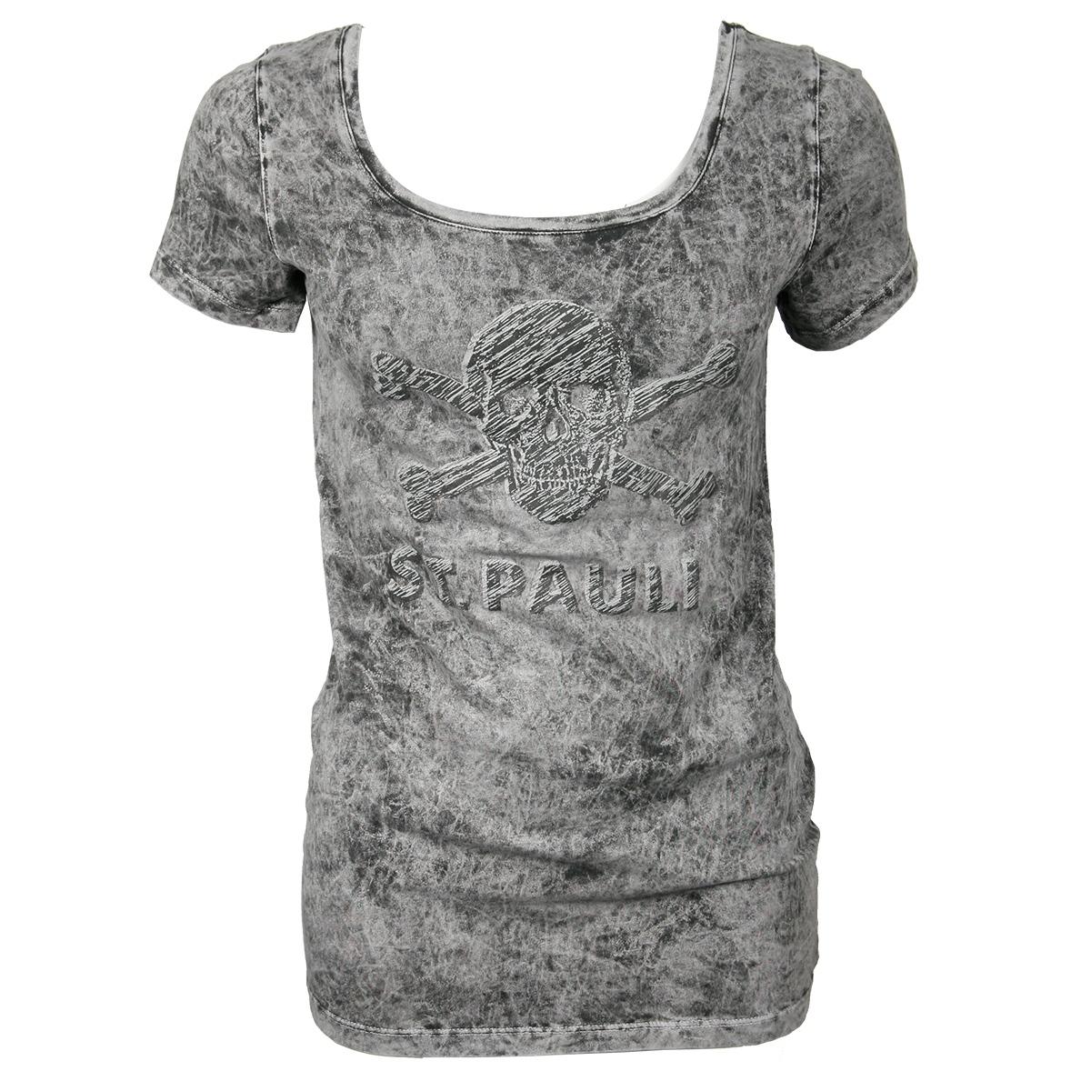 FC St. Pauli - Damen T-Shirt Totenkopf Scratch - grau