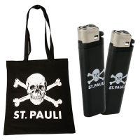 FC St. Pauli - Set aus Stofftasche Totenkopf und 2X Einwegfeuerzeug - schwarz