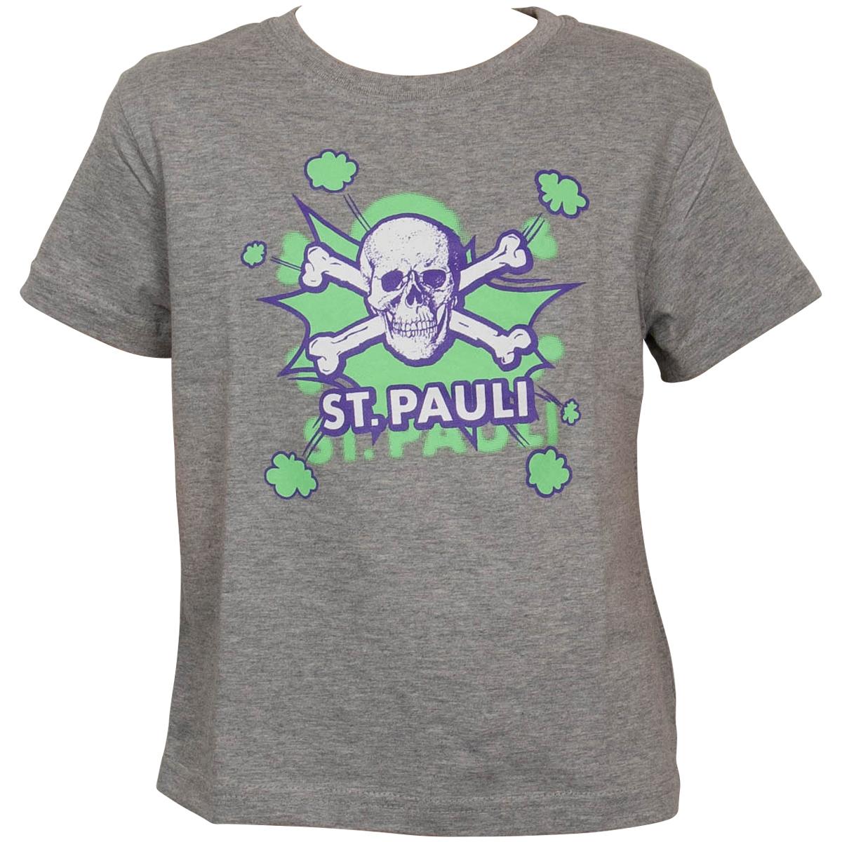 FC St. Pauli - Kinder T-Shirt Totenkopf Pow Grau-Lime - grau