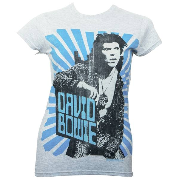 David Bowie - Girlie T-Shirt Blue Beams - grau