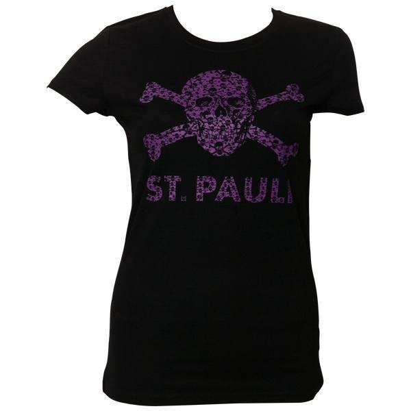 FC St. Pauli - Frauen T-Shirt Totenkopf Schädel - Schwarz-Lila