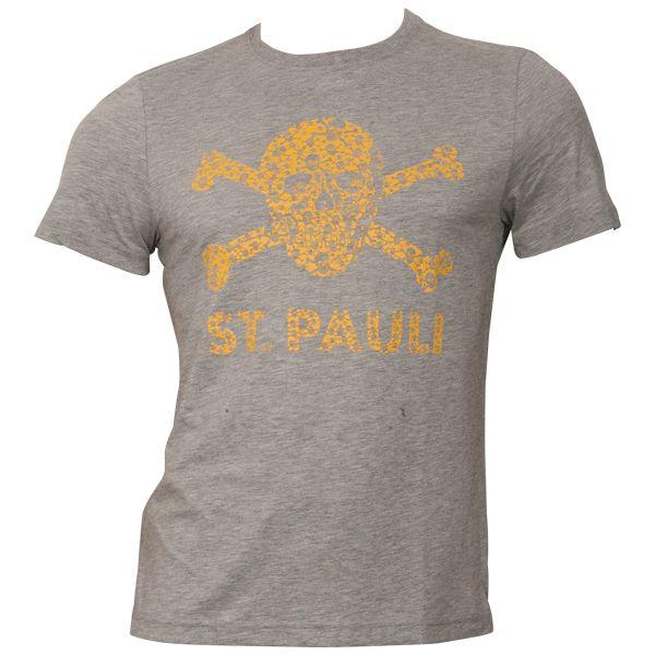 FC St. Pauli - T-Shirt Totenkopf Schädel - Grau-Senfgelb - grau