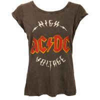 AC/DC - Damen T-Shirt Logo High Voltage - grau