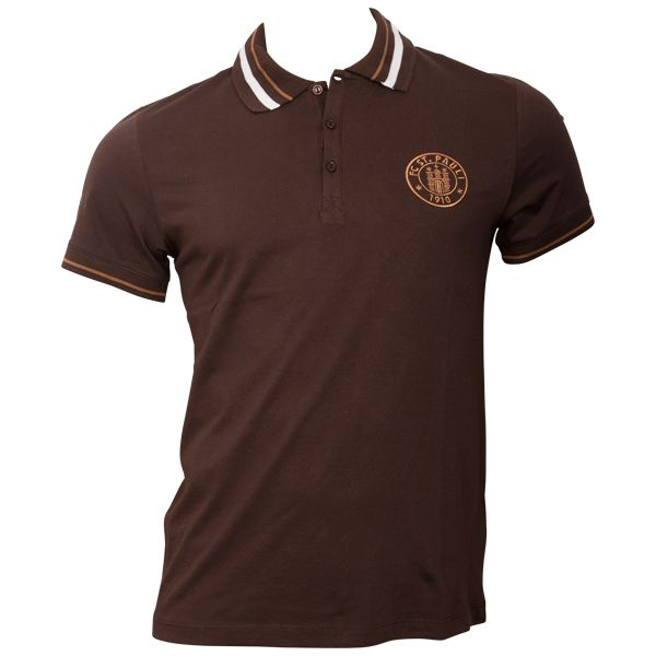 FC St. Pauli - Polo Shirt Logo Verein - dunkelbraun