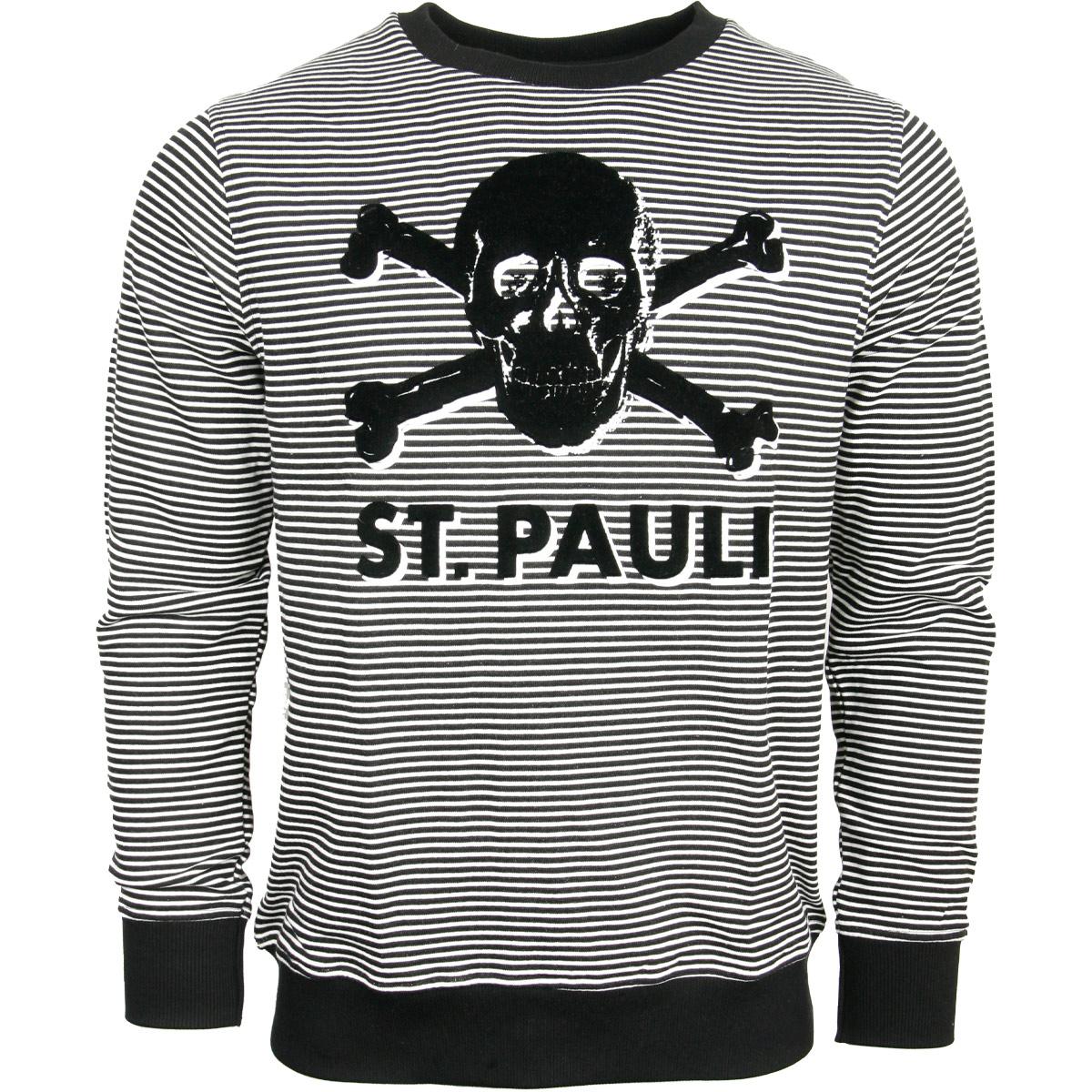 FC St. Pauli - Sweatshirt Stripe Terry Totenkopf - schwarz-weiß