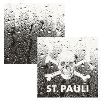 FC St. Pauli - Fliesenaufkleber Totenkopf 2er Set - transparent-schwarz