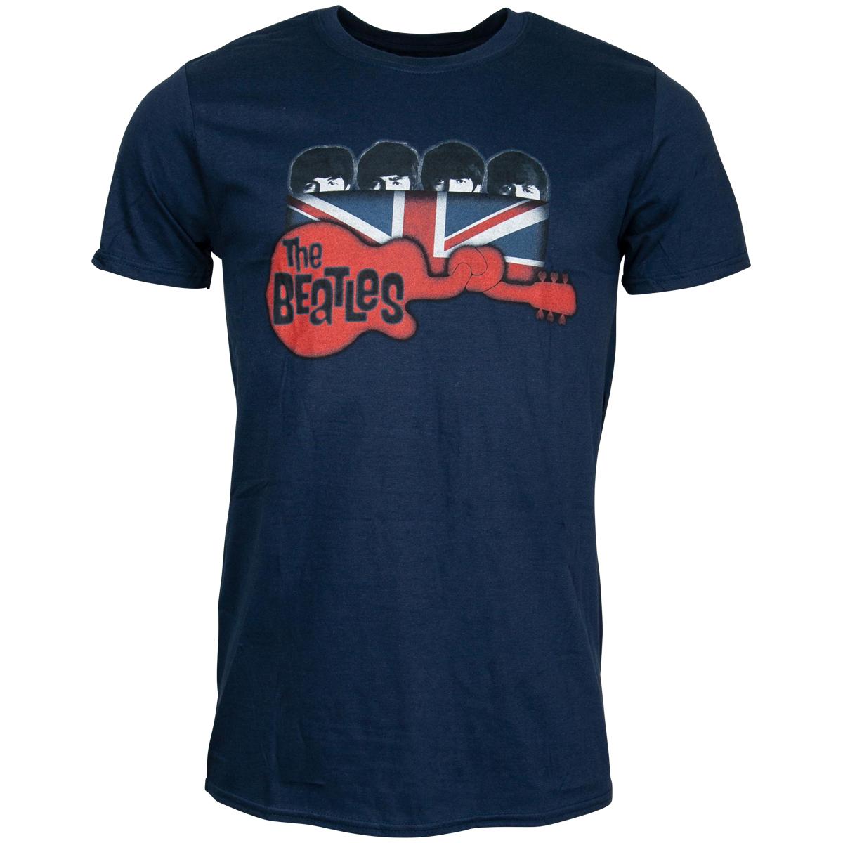 The Beatles - T-Shirt Guitar & Flag - blau