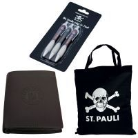 FC St. Pauli - Shopping-Set mit Geldbörse, Tasche und Kugelschreibern