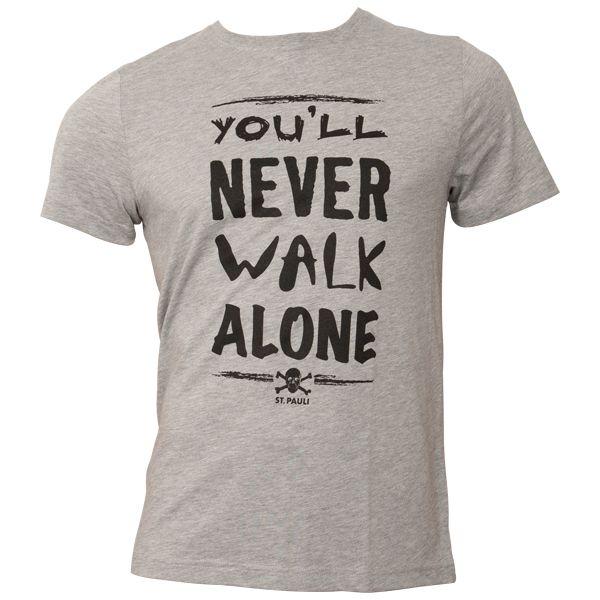 FC St. Pauli - T-Shirt You'll never Walk Alone Grau-Schwarz - grau
