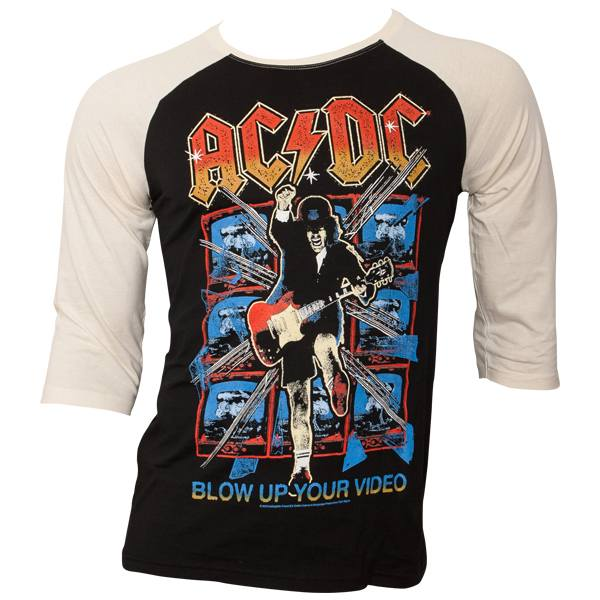 AC/DC - Baseball Shirt Blow Up Your Video - schwarz/weiß
