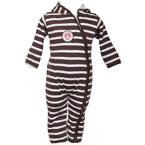 FC St. Pauli - Baby Overall Teddy Stripes - weiß/braun
