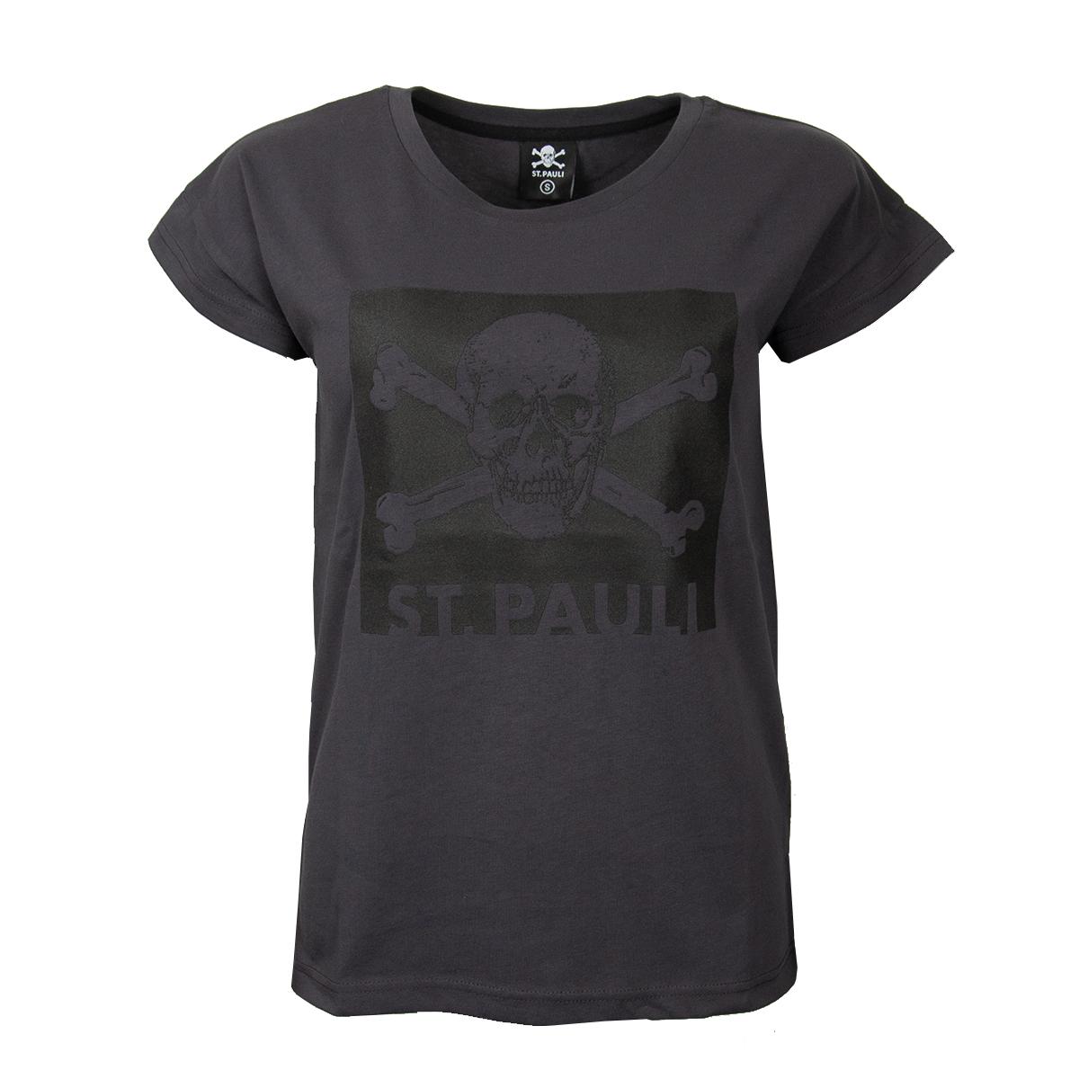 FC St. Pauli - Damen T-Shirt Black Box Totenkopf - grau