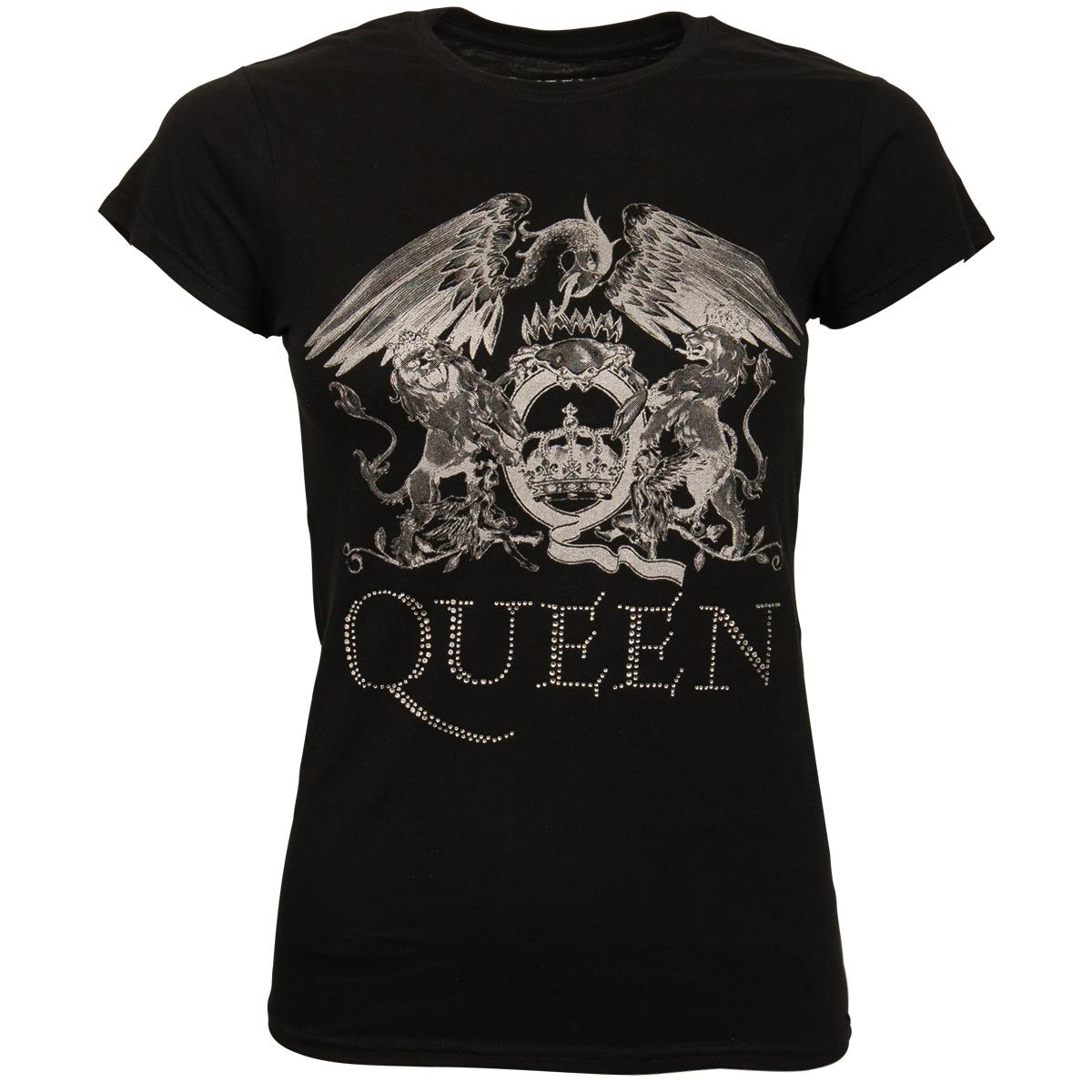Queen - Damen T-Shirt Logo - schwarz mit Glitzer