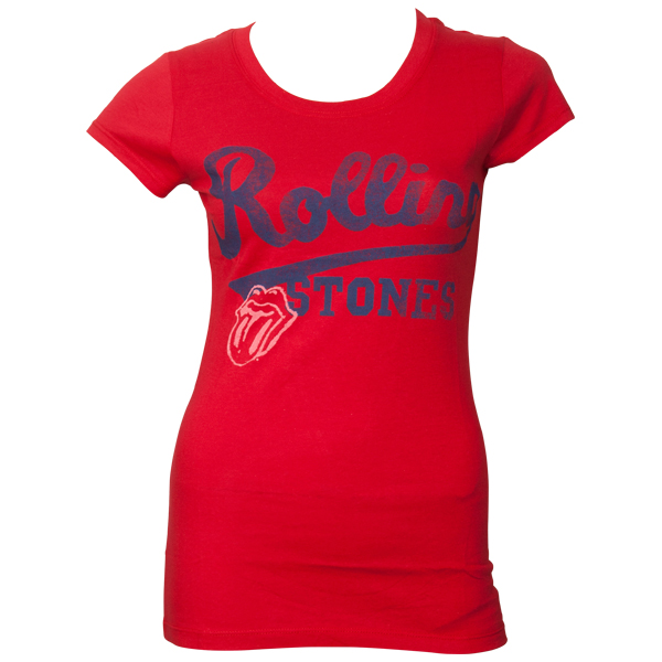 The Rolling Stones - Frauen T-Shirt Team Logo - rot
