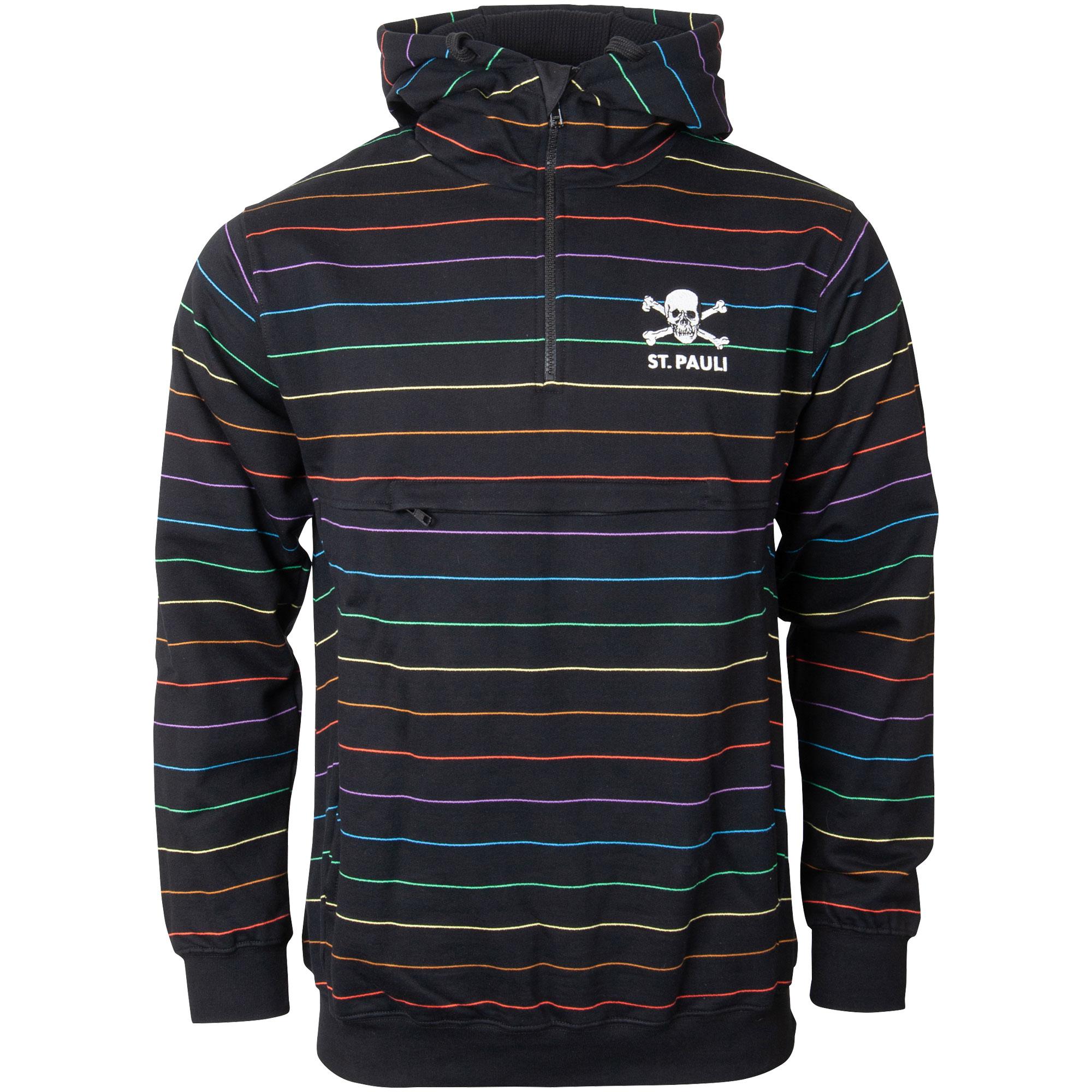 FC St. Pauli - Kapuzenpullover Rainbow Stripes - schwarz