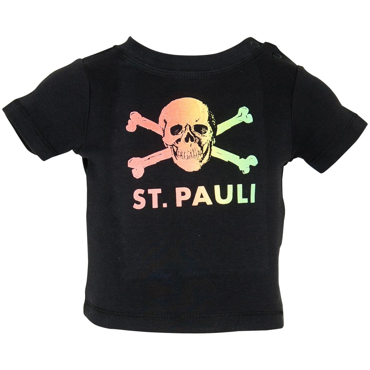 FC St. Pauli Baby T-Shirt Regenbogen Totenkopf - schwarz