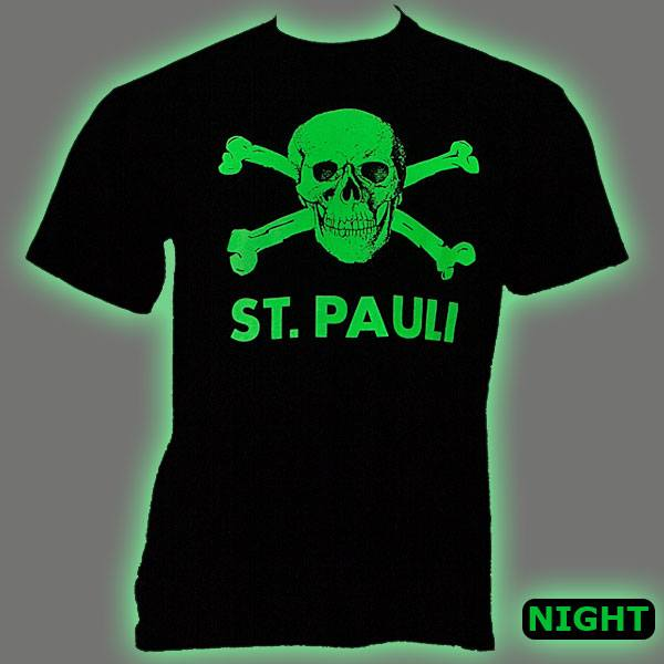 FC St. Pauli - T-Shirt Totenkopf Phosphor - schwarz