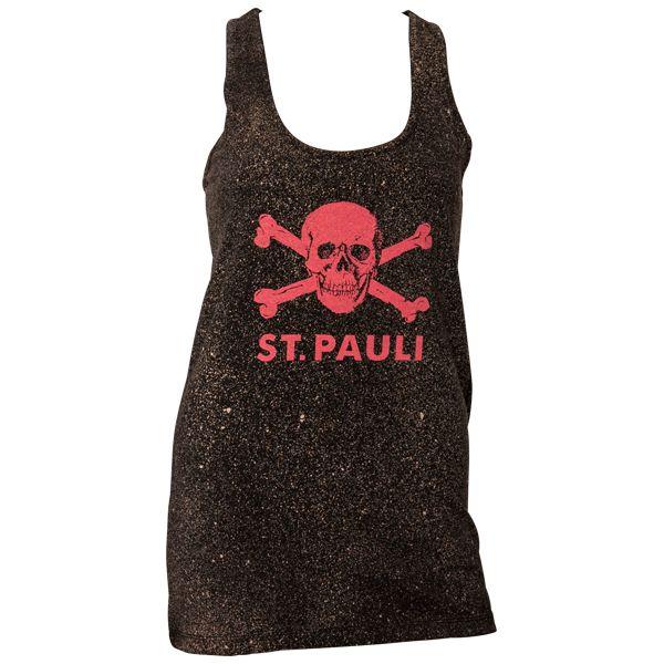FC St. Pauli - Frauen Tanktop Spray - schwarz/beige