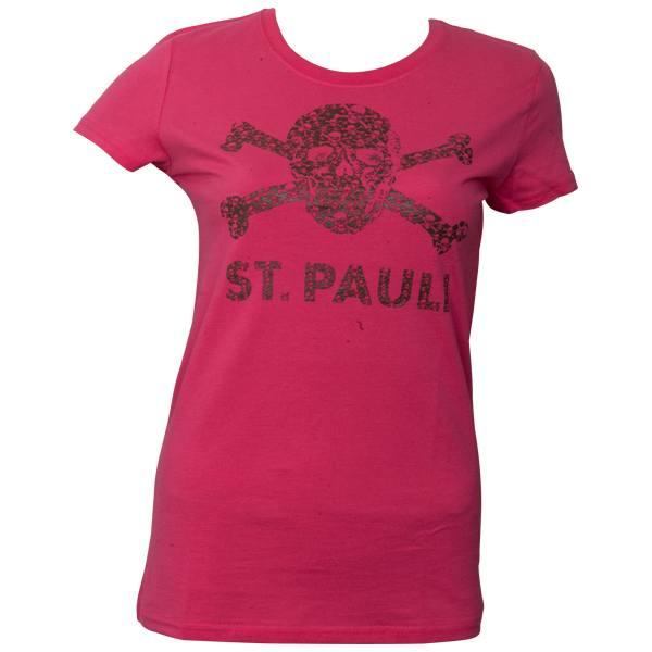 FC St. Pauli - Frauen T-Shirt Totenkopf Schädel - Pink-Braun - pink
