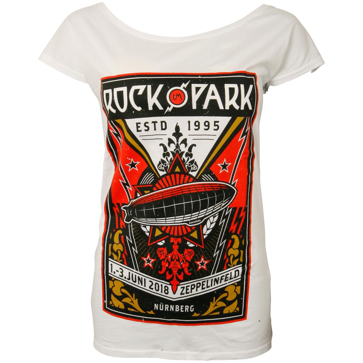 Offizielles Rock im Park 2018 - Damen Shirt Rock Zeppelin - weiß