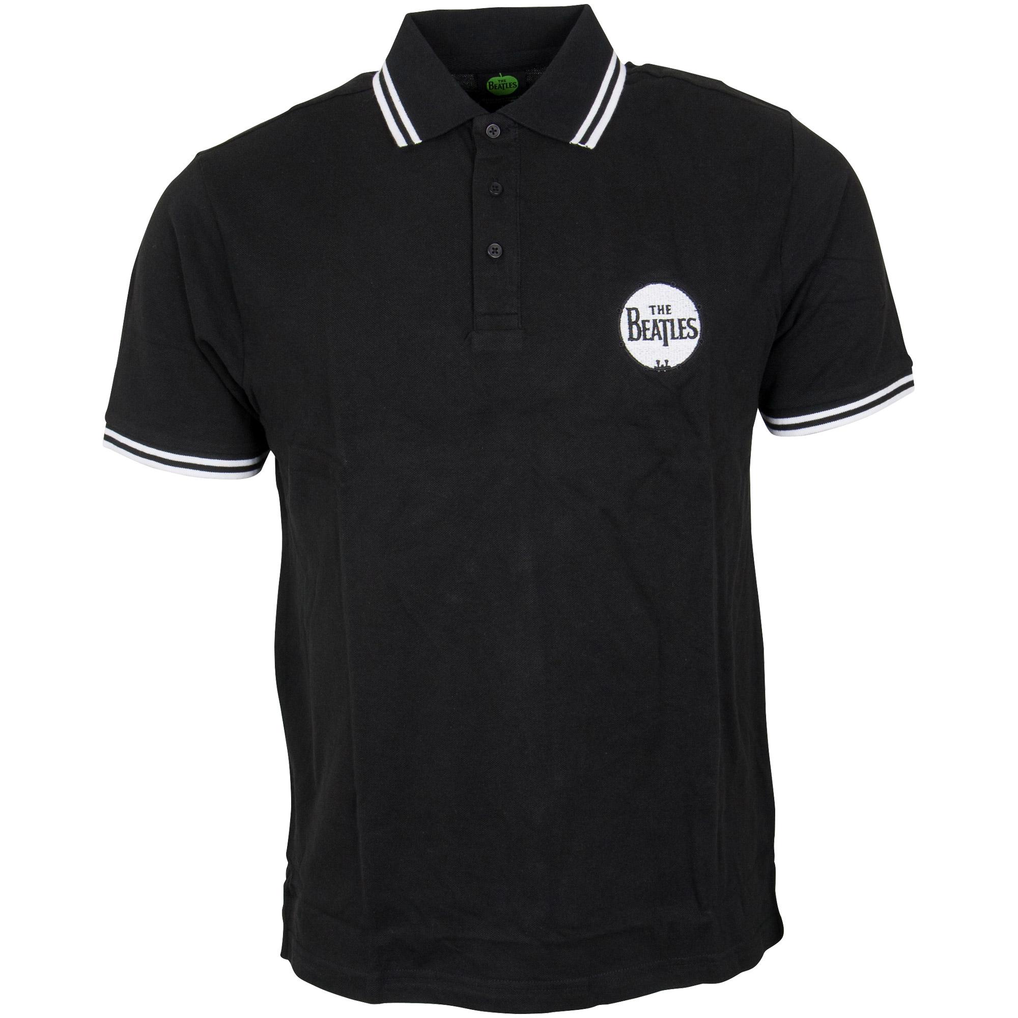 The Beatles - Polo Shirt Drum Logo - schwarz