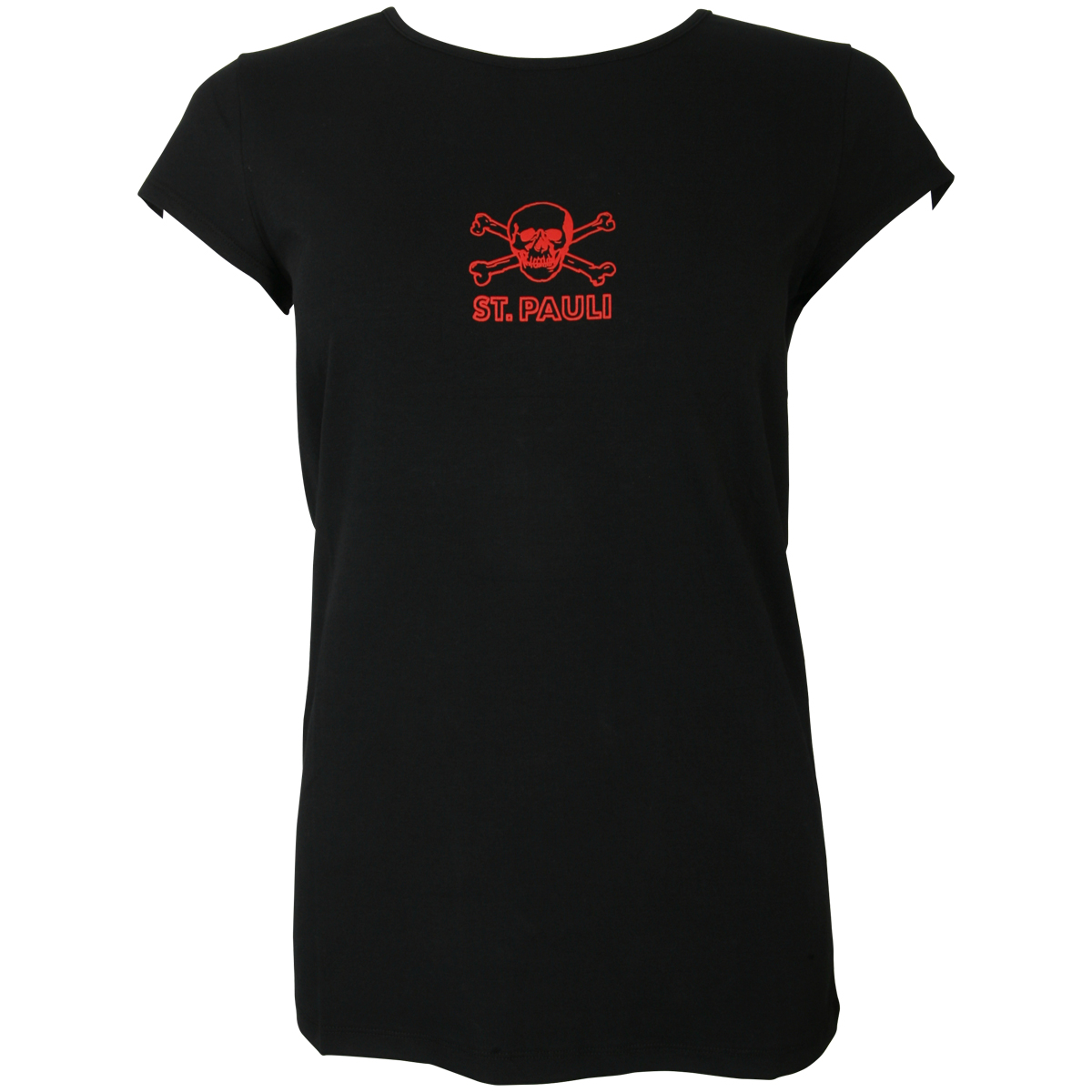 FC St. Pauli - Damen T-Shirt Black Red - schwarz