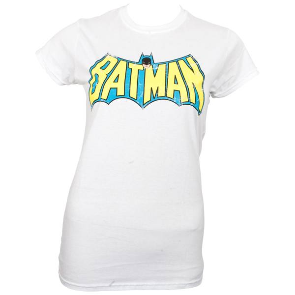 Batman - Girlie T-Shirt Retro Logo - weiß